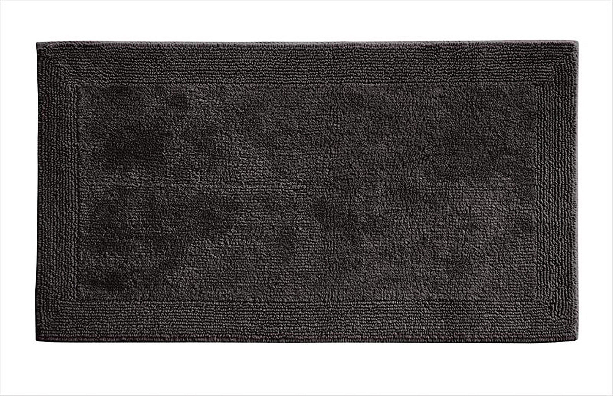 Grund Puro Series 100% Organic Cotton Reversible Bath Rug, 24-inch by 60-inch, Graphite