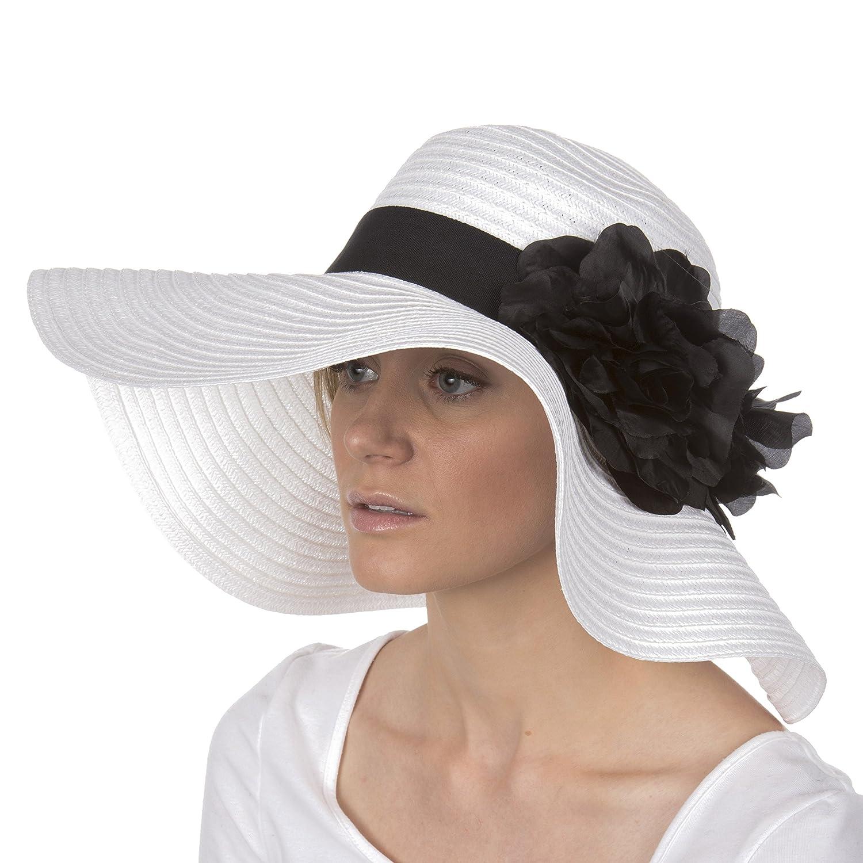 100/% Paper Straw Flower Accent Wide Brim Floppy Hat Sakkas Daisy UPF 50