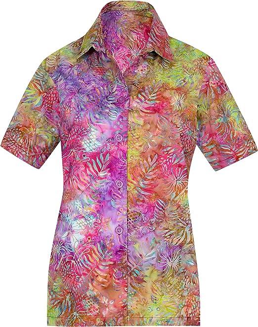 02c078339 LA LEELA Botón Hawaiano de la Playa del Verano de Las Mujeres de la Manga  Campo de Abajo Blusa Corta Ocasional hk263  Amazon.es  Ropa y accesorios