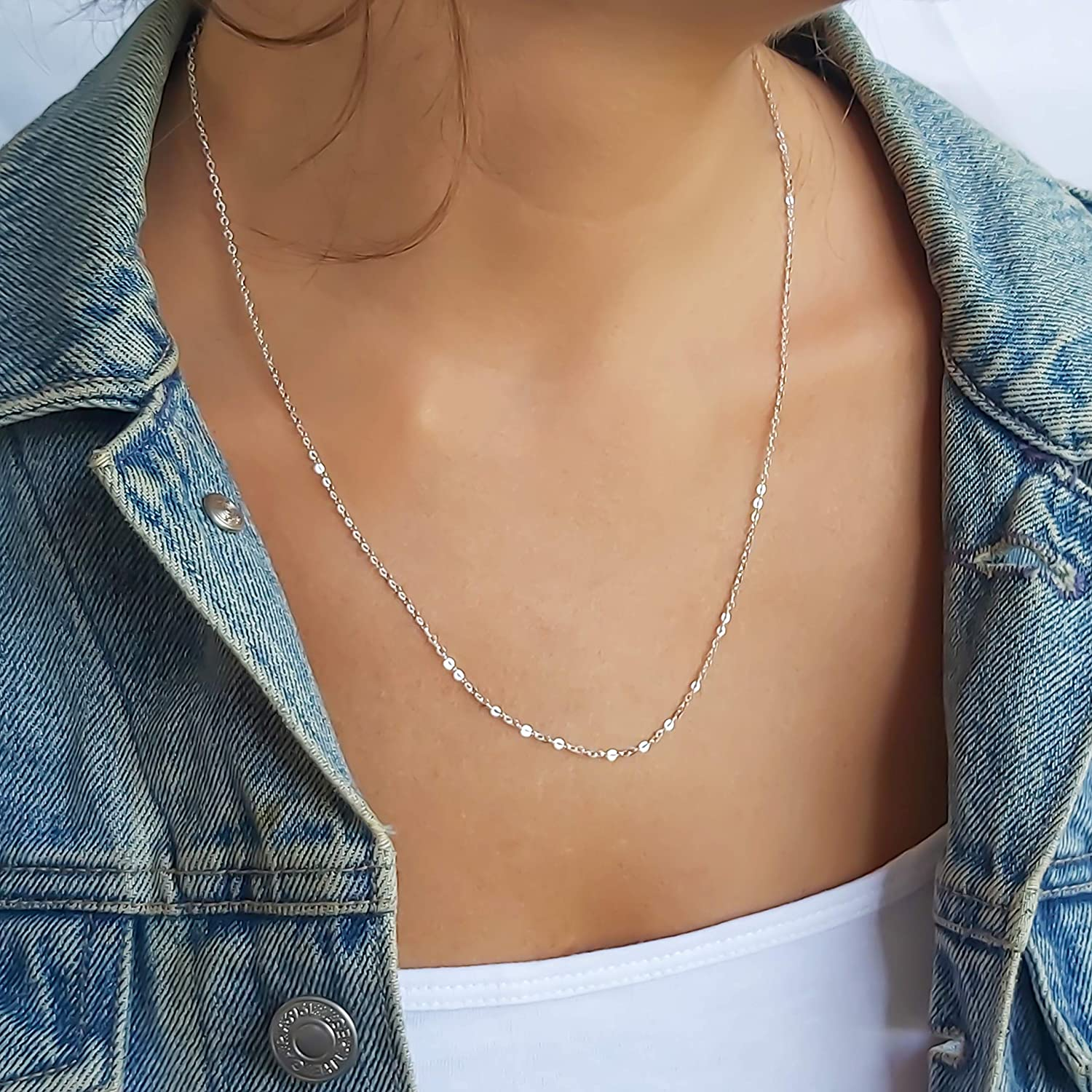 Sterling Silver Necklace, Long Chain Silver Necklace for Women, Minimalist Dainty Silver Necklace, Simple Sterling Silver Handmade Jewelry by Annikabella