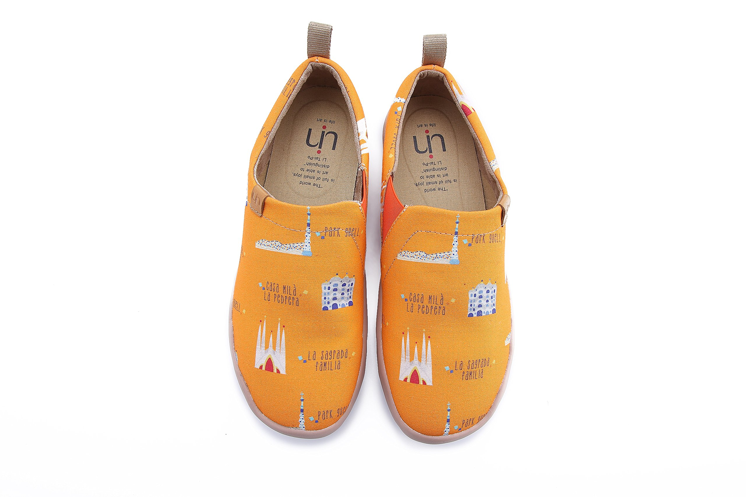 UIN Men's Art City Cute Canvas Barcelona Travel Shoe Orange (8.5)