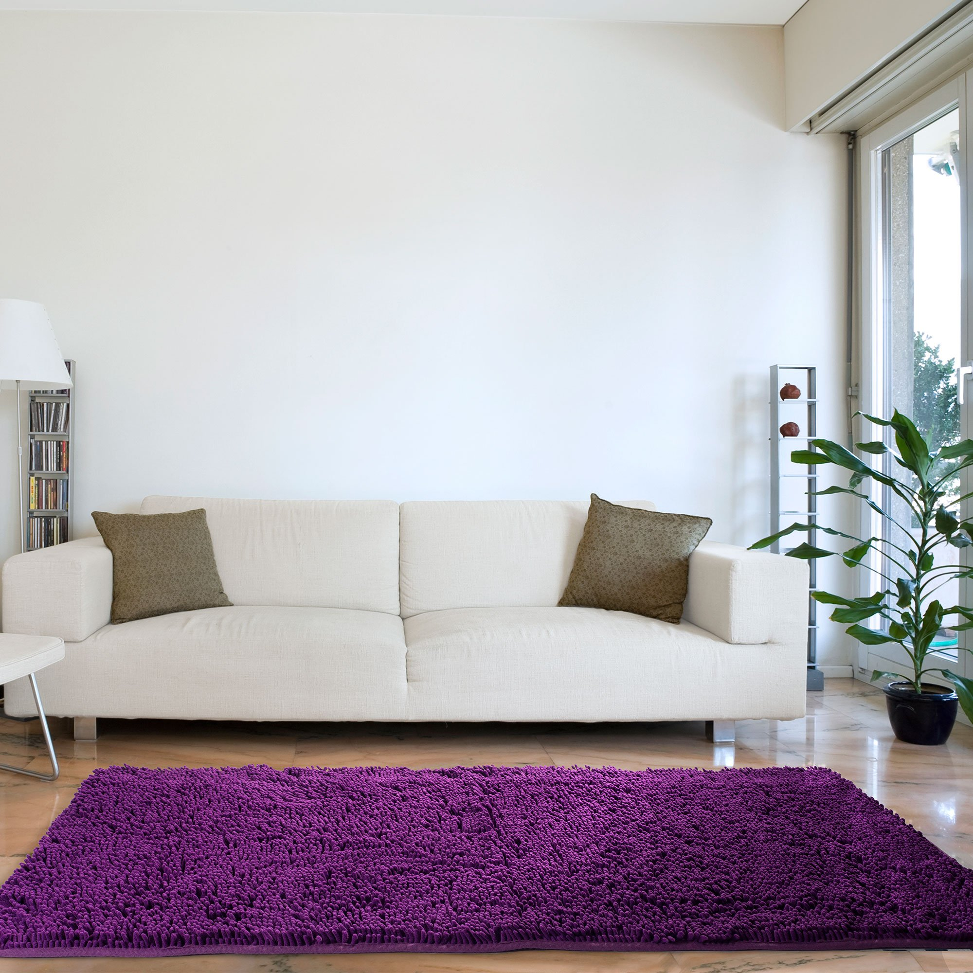 Lavish Home High Pile Carpet Shag Rug, 30 60-Inch, Purple