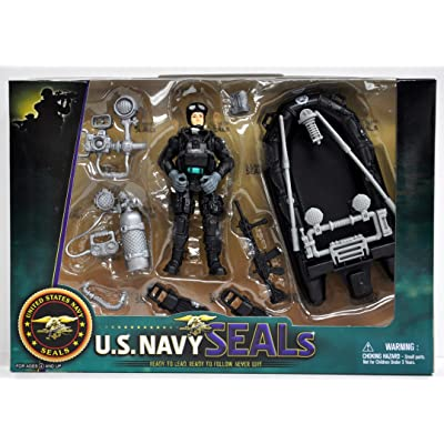 United States Navy Seal Figure Playset with Accessories and Combat Rubber Raiding Craft: Toys & Games [5Bkhe2004420]