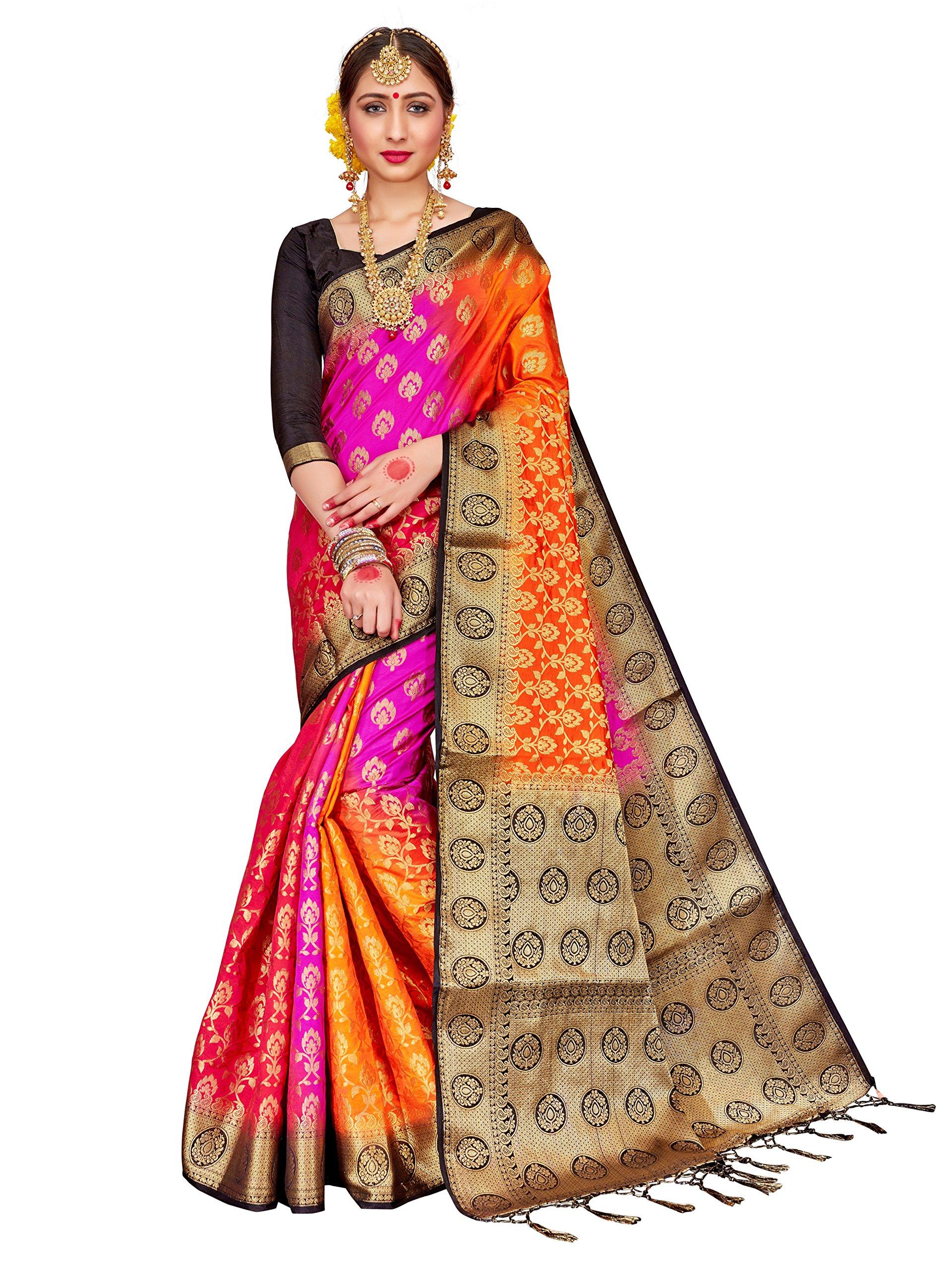ELINA FASHION Sarees Women Banarasi Art Silk Woven Work Saree l Indian Wedding Ethnic Sari & Blouse Piece (Multi 3)