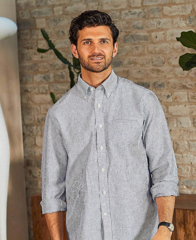 Savile Row Mens Blue White Narrow Stripe Classic Fit Linen-Blend Shirt
