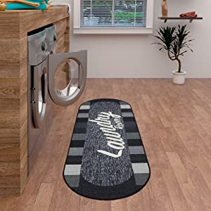"Ottomanson Laundry Collection Area Rug, 20""X59"" Oval, Black Checkered"