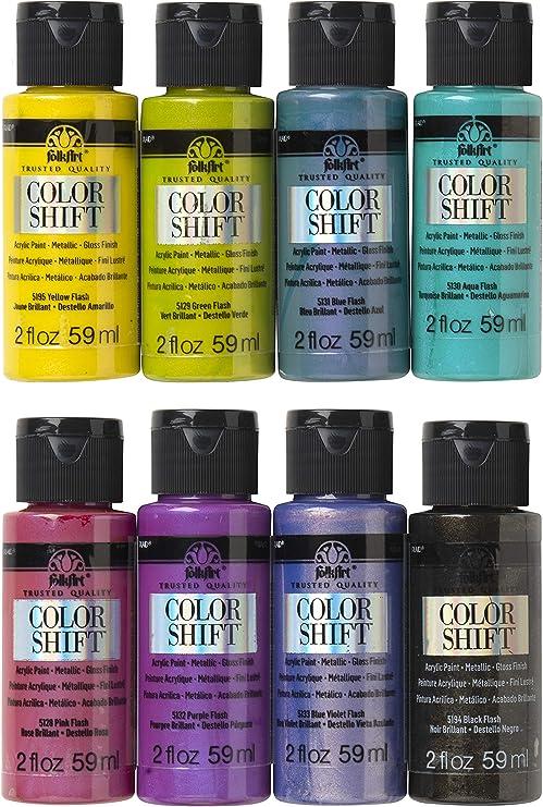 Amazon Com Folkart Promocs8 Color Shift Chameleon Paint Set 2 Oz