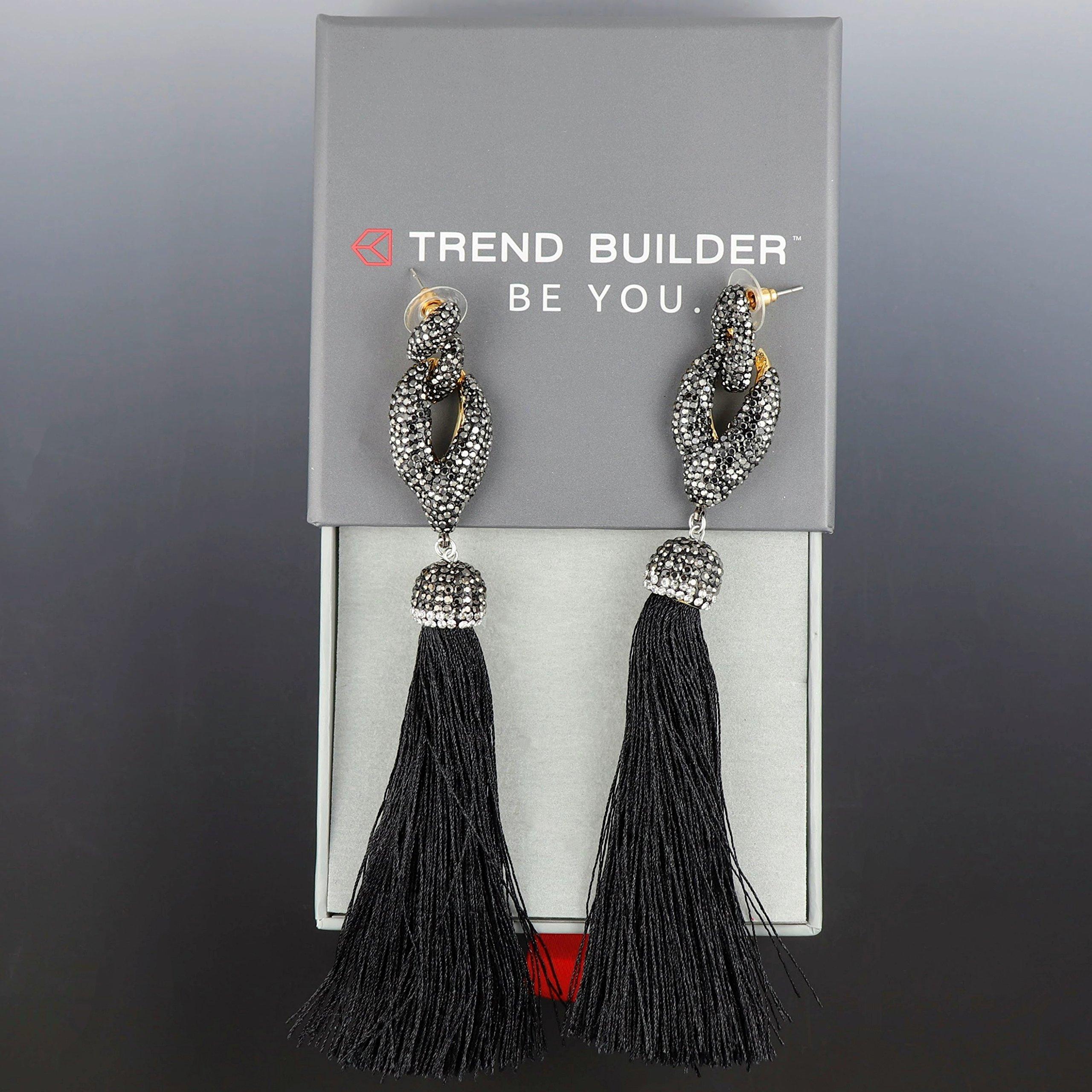 NEW Big Bold Beautiful High End Fashion Tassel Rhinestone Drop Dangle Druzy CZ Stud Earrings   28 Designs (Dancing Black) by Trend Builder Inc (Image #3)
