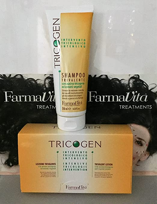Amazon.com : Farmavita Tricogen Lotion 12x8ml Plus Tricogen Shampoo 250ml By The Best H&B Supply : Beauty