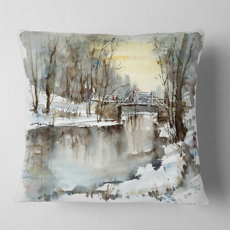 x 20 in in Designart CU6400-12-20 White Bridge Over River Throw Pillow 12 in