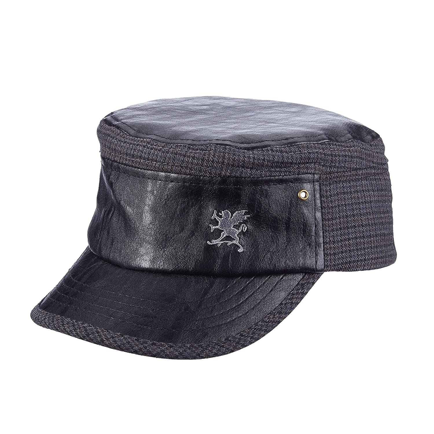 SAW676 STACY ADAMS Faux Leather Front Logo Brocade Military Cadet HAT