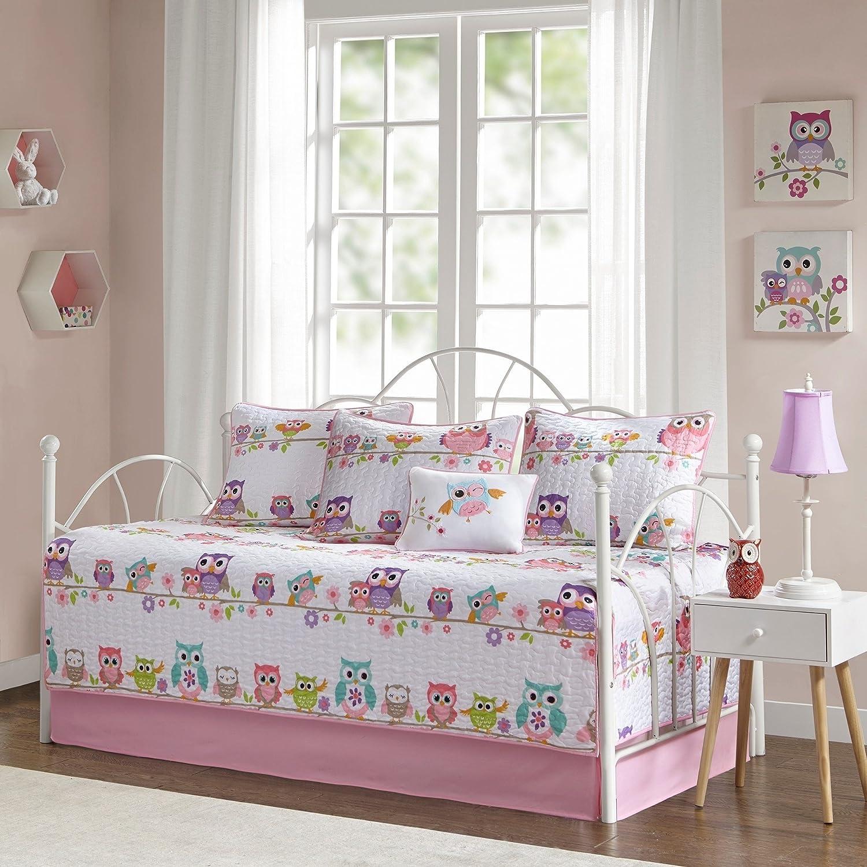 TN 6 Piece Kids GirlsホワイトピンクフクロウテーマDaybedセット、キュートなふくろう寝具for Daybeds鳥カラフルパープルブルーオレンジグリーン花Vines、ポリエステル B07D8CXML9