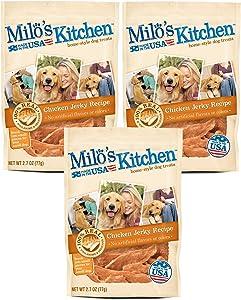 Chicken Jerky Recipe Dog Treats by Milos Kitchen, 2.7 Oz (Pack of 3)