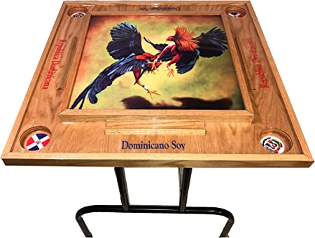 Gallos Domino Table with Dominican Republic Flag-dark Walnut