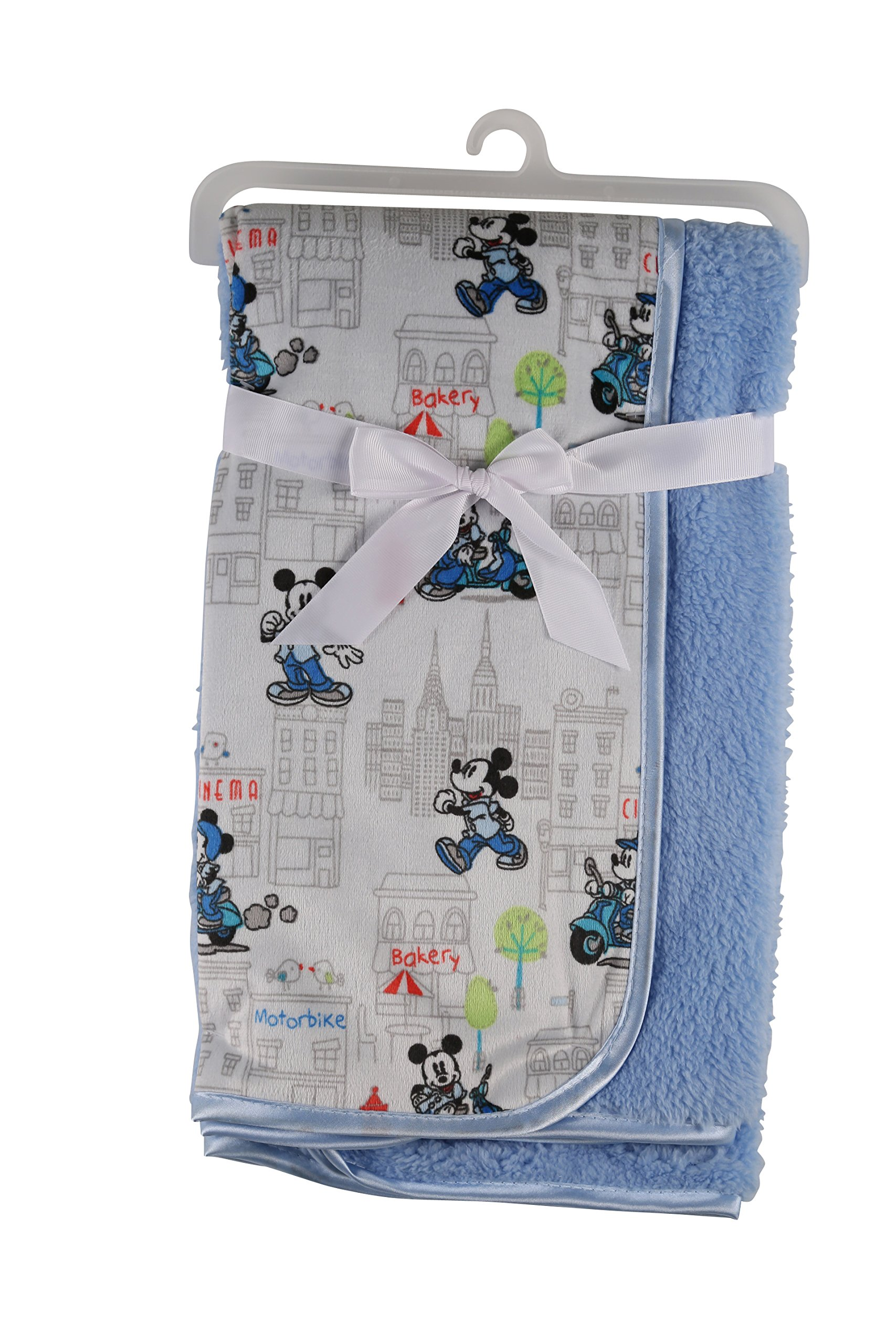 Disney Mickey Mouse Mink and Sherpa Double Sided Infant Blanket, in The City Print