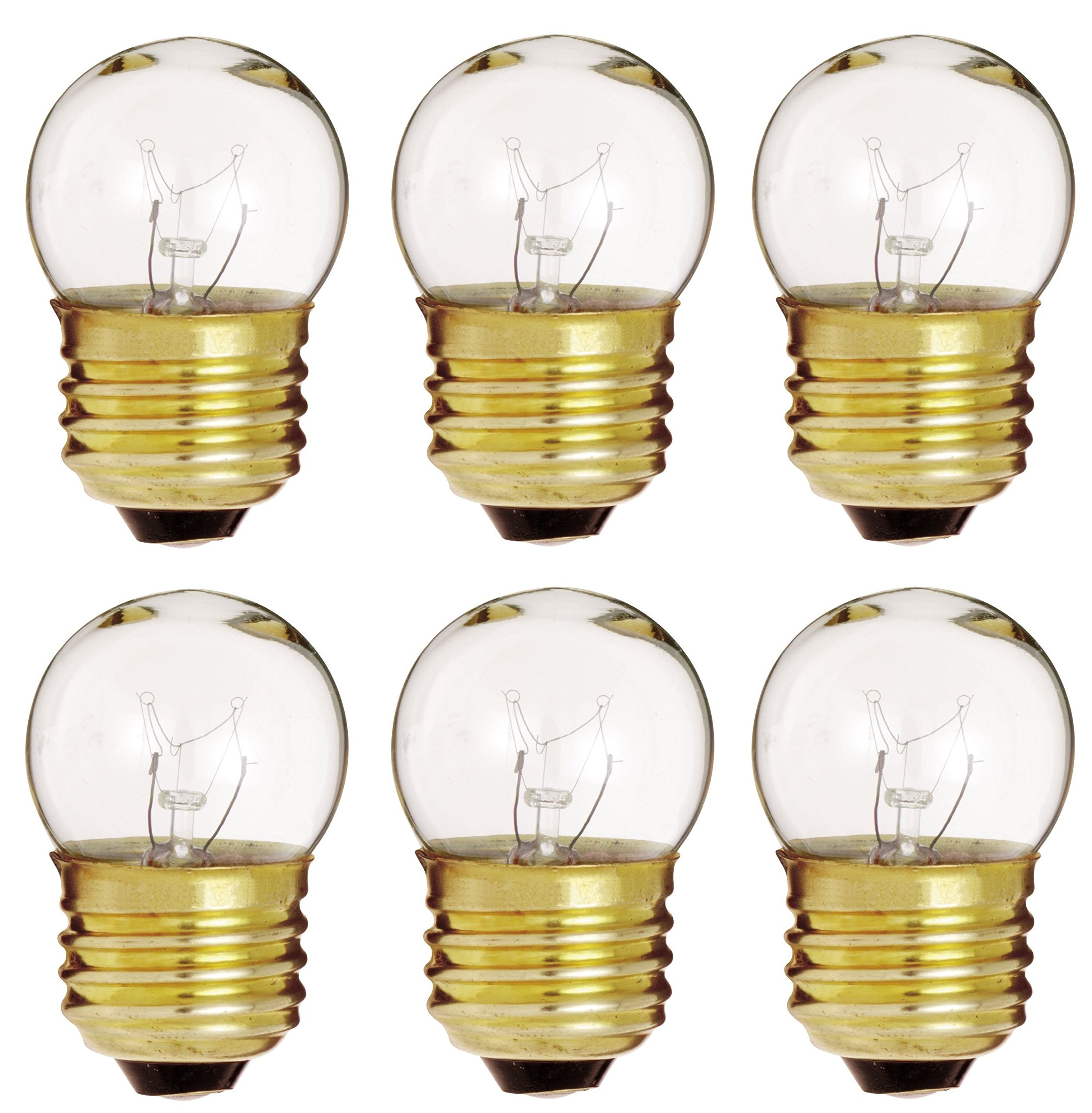 6 Pack of 7.5-Watt S11 Sign Indicator 7.5S11 Medium (E26) Base Clear Incandescent Light Bulb