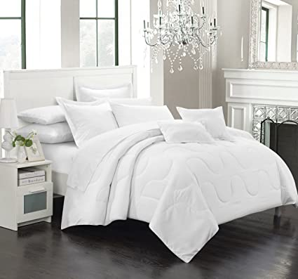 Chic Home Donna 7 Piece Comforter Set Minimalist Solid Color Design With  Pillows Shams, Queen
