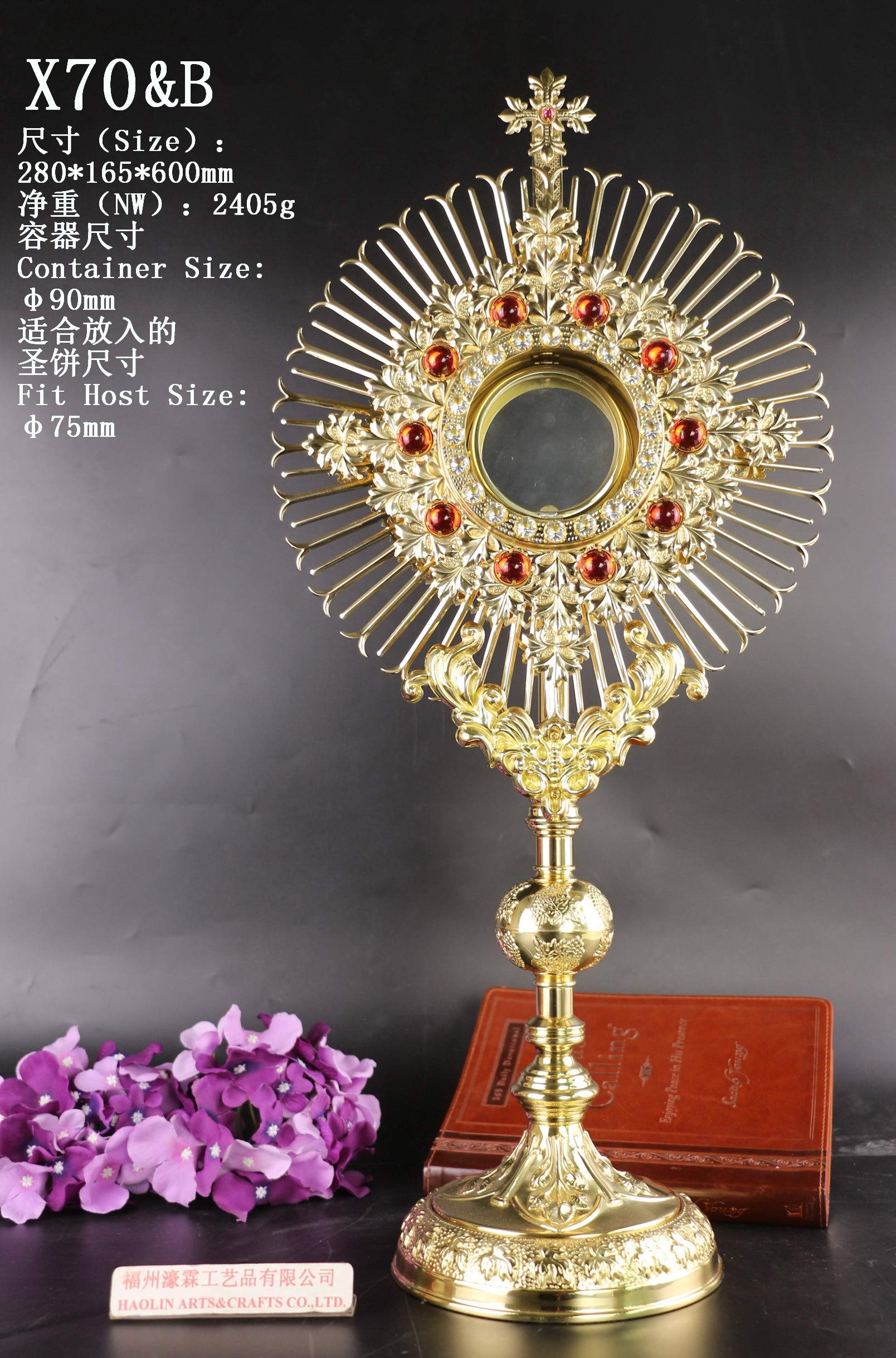 Rare Fine Monstrance with Lunette, Beautiful and Affordable! 23 3/5'' High X70&B