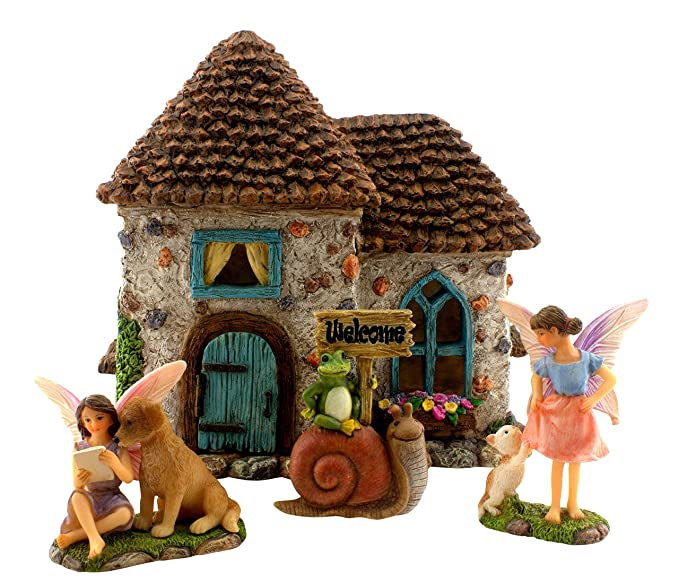 """PRETMANNS Fairy Garden Accessories – House Kit with Miniature Fairies & Welcome Sign – Fairy House is 6"""" High & Door Can Open – 4 Pieces"""