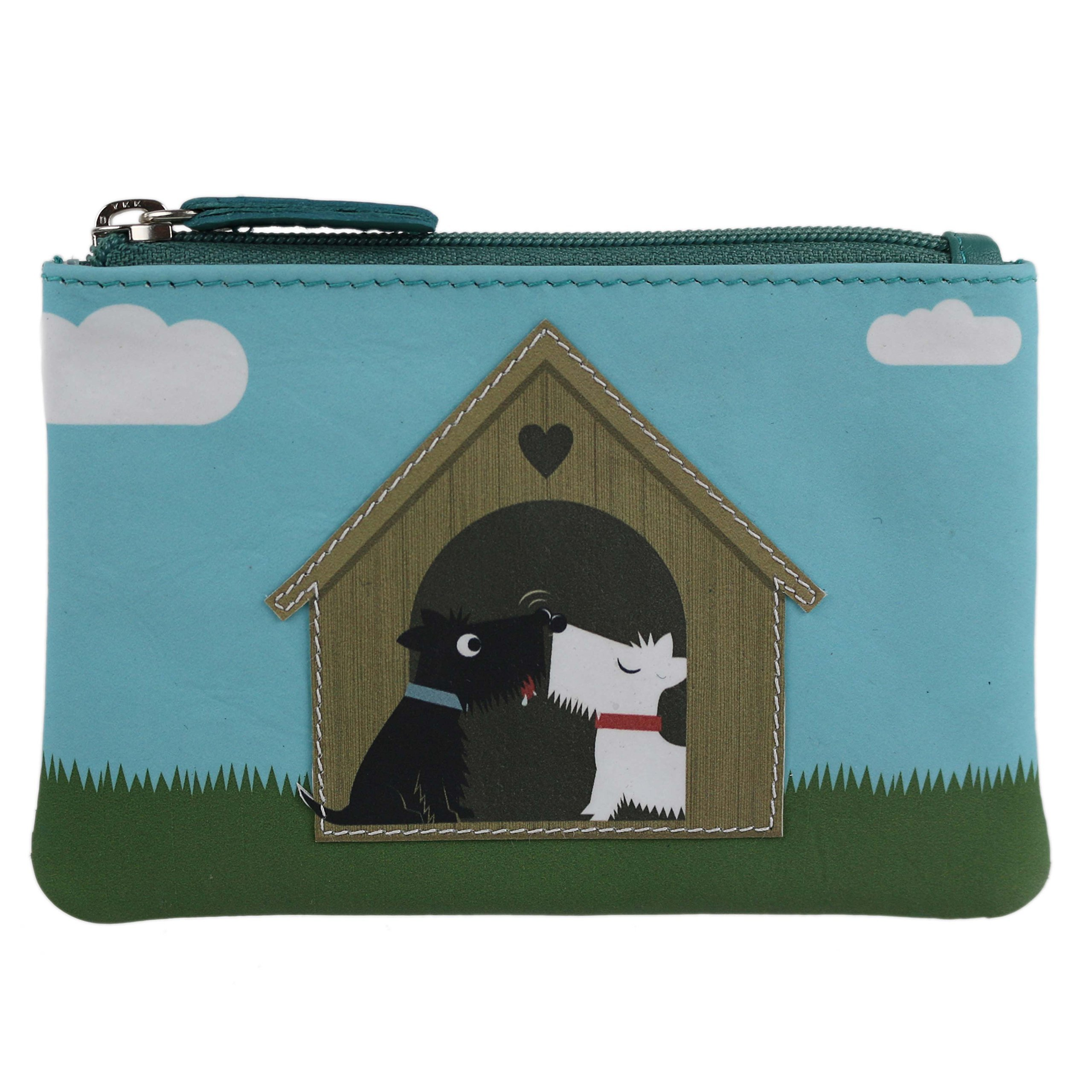 Mala Leather Women's Leather Scotty Dogs In Love Coin Purse By Mala Zipped Handy Onesize Black White