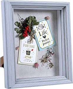 Flagship Shadow Box Frame Sized 8x10 Inch with Linen Board for Display and Protect Memorabilia (Photos, Medals, Pins, Cards), Pre-Installed Wall Mounting Hardware, Back Easel Included