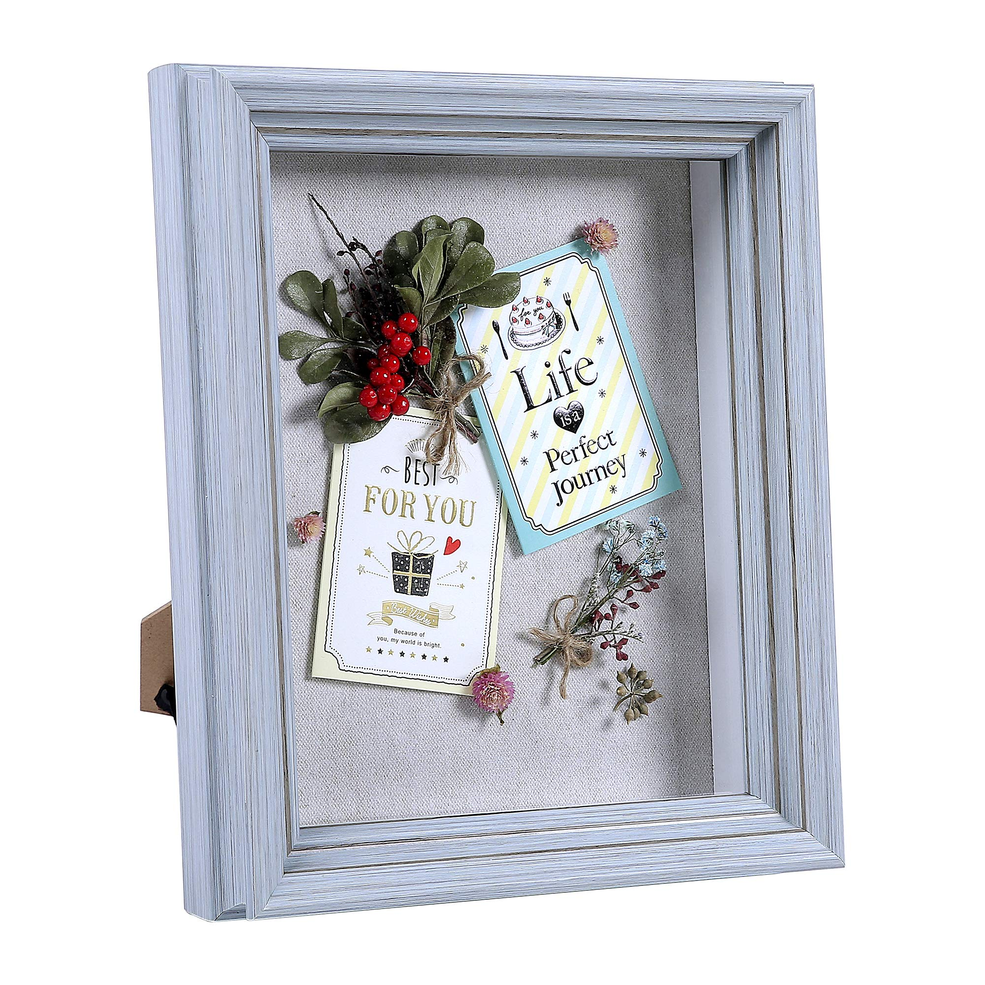 Flagship Shadow Box Frame Sized 8x10 Inch with Linen Board for Display and Protect Memorabilia (Photos, Medals, Pins, Cards), Pre-Installed Wall Mounting Hardware, Back Easel Included by Flagship Frames