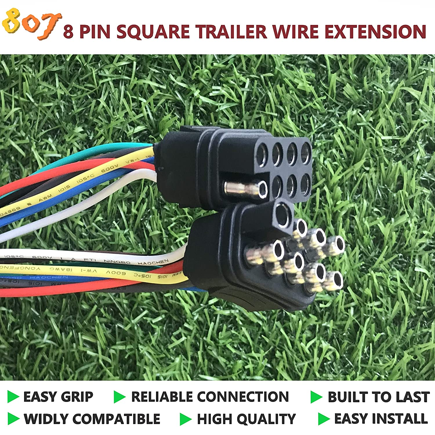 807 2//3//4//5//6//8 Way Trailer Wiring Harness Connectors 36 Vehicle-Side and Trailer-Side,2//3//4//5//6//8 pin Trailer Trailer Plug Connector 6 Way Square