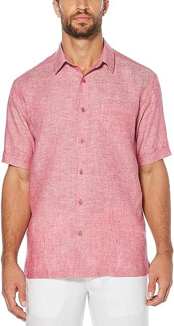Cubavera Big and Tall Short-Sleeve 100% Linen Cross Dyed Woven Shirt Camisa de Vestir, Sangría, X-Large para Hombre: Amazon.es: Ropa y accesorios
