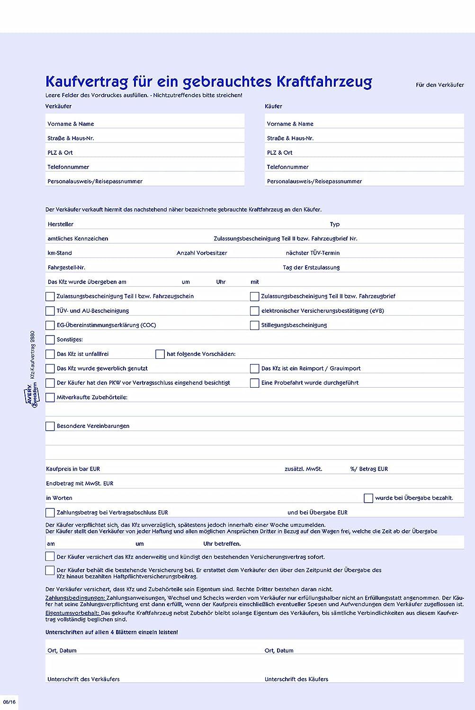 Avery Zweckform 2880 Kaufvertrag (für ein gebrauchtes Kfz, A4 ...