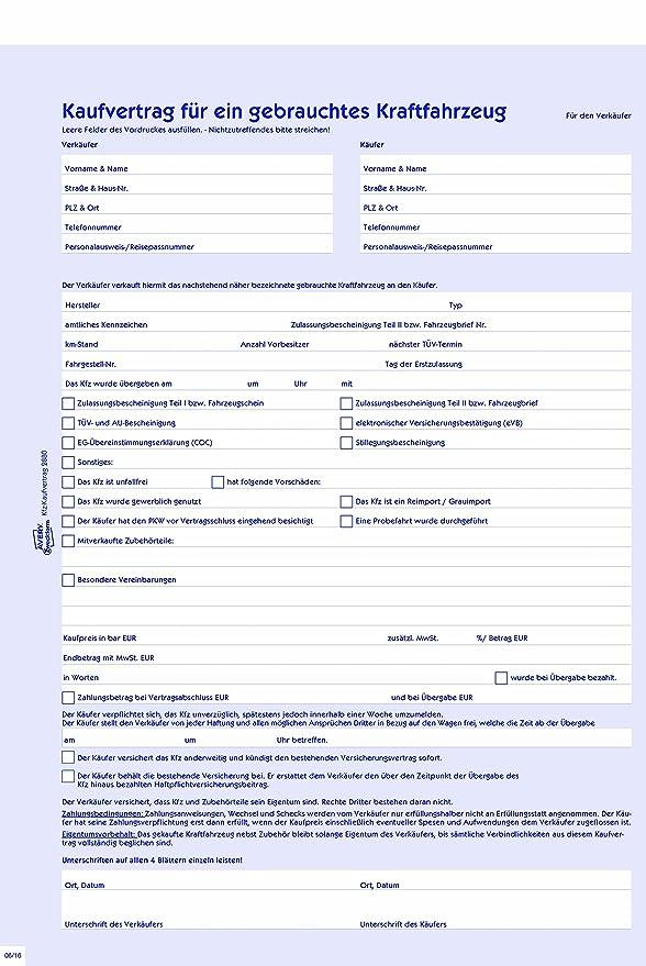Avery Zweckform 2880 Kaufvertrag Für Ein Gebrauchtes Kfz A4