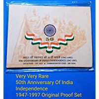 Very Rare Proof Set 50th Anniversary of India's Independence (1947-1997) 50 Rupee(Silver) and 50 Paise(Steel) Proof Set,Mint Mark 'M'~ Unused,Sealed Pack as Mint~Free Ship