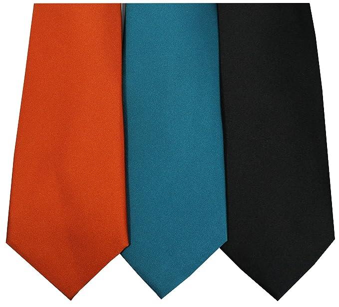 c6f005e70c18 Plain Pack of 3 Silk Ties, Orange Teal, Black: Amazon.co.uk: Clothing