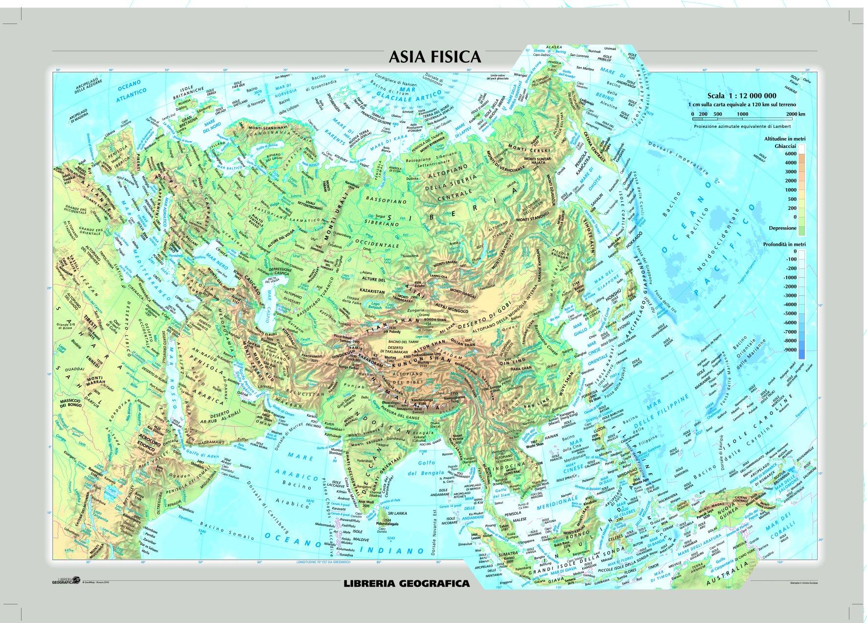 Cartina Asia Fisica.Amazon It Asia Fisica E Politica Carta Murale Libri