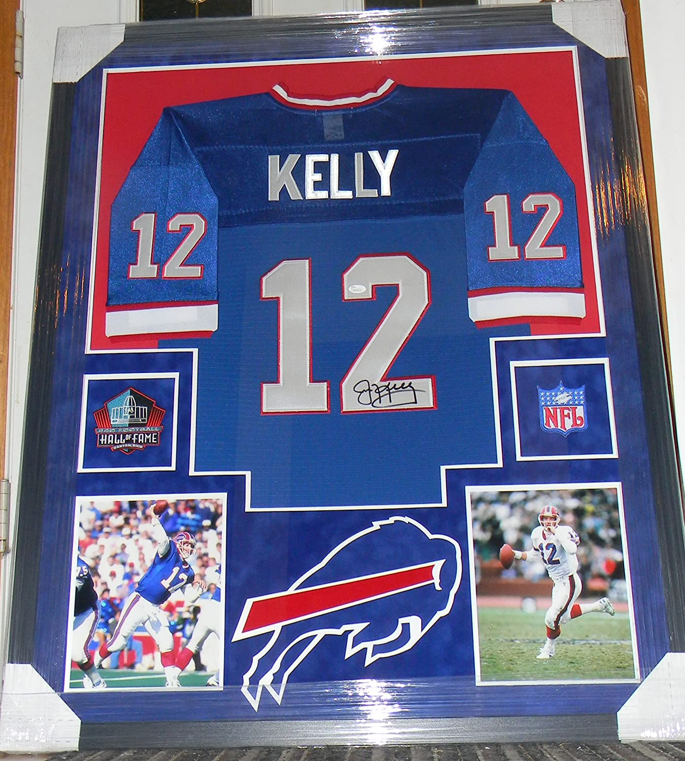 d929fa6012c JIM KELLY Signed Jersey Framed Auto Suede Matte JSA COA Buffalo Bills at  Amazon's Sports Collectibles Store