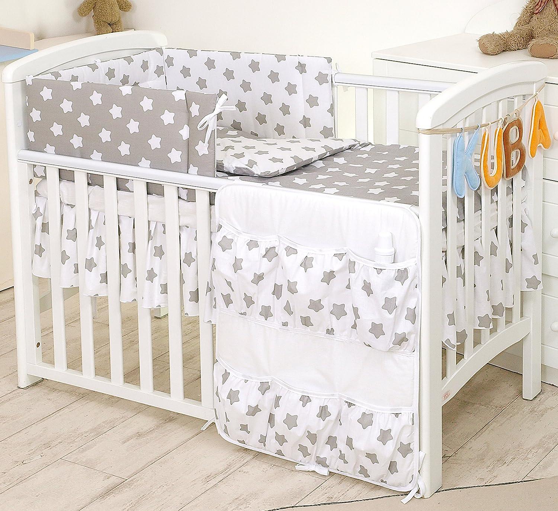#17 Fuchsia Grey Stars PRO COSMO Nursery Cot Tidy//Organiser with 6 Pockets