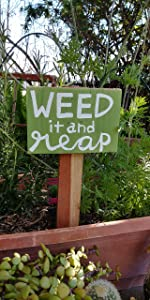 Weed It and Reap Garden Sign, Garden Stake Sign, Gardening Gift, Garden Marker, Plant Lady Rustic Wooden Plaque Wall Art Hanging Sign for Home Decor 6