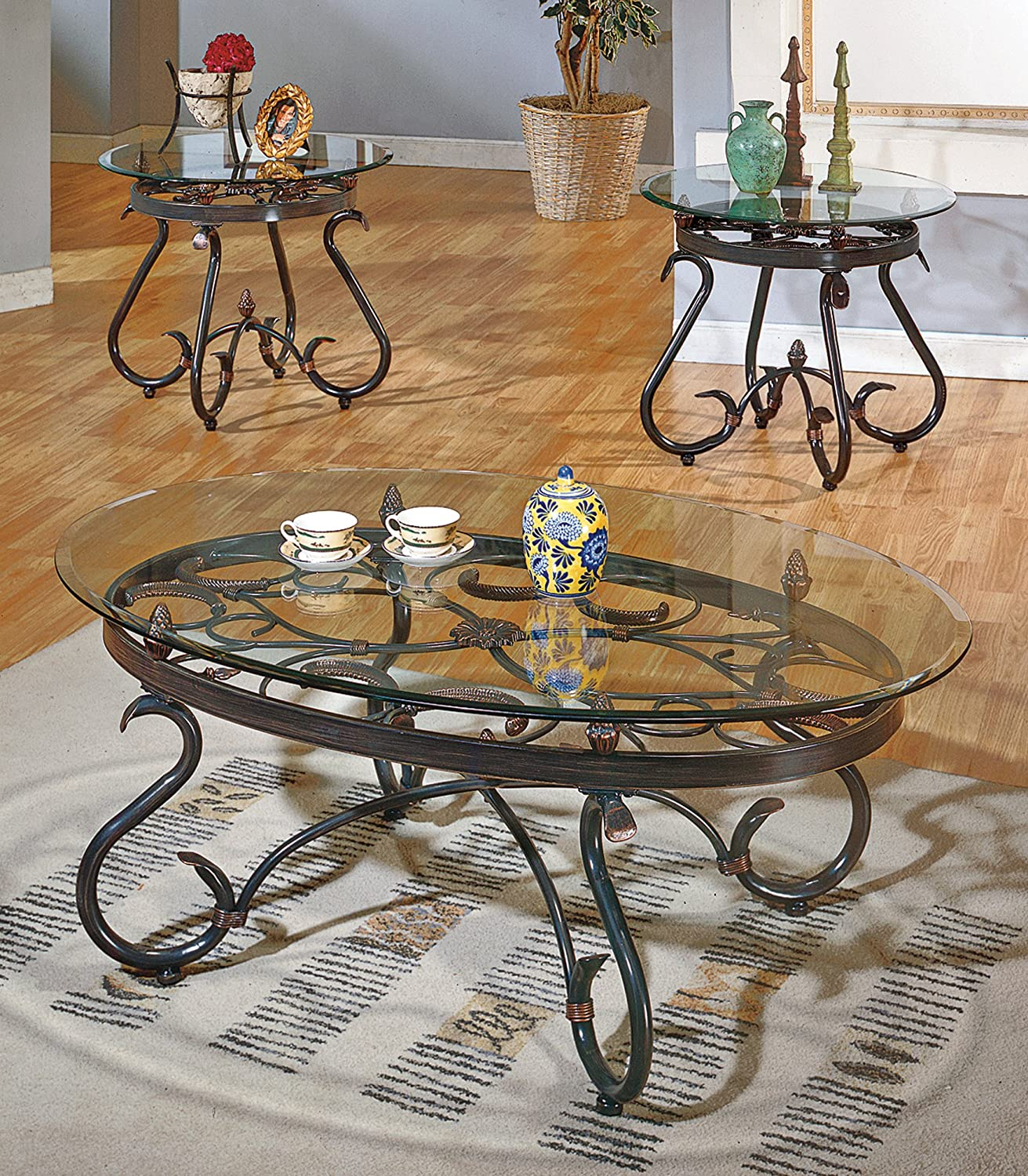 Steve Silver Lola 3 Piece Glass Coffee Table Set in Dark Brown: Furniture & Decor