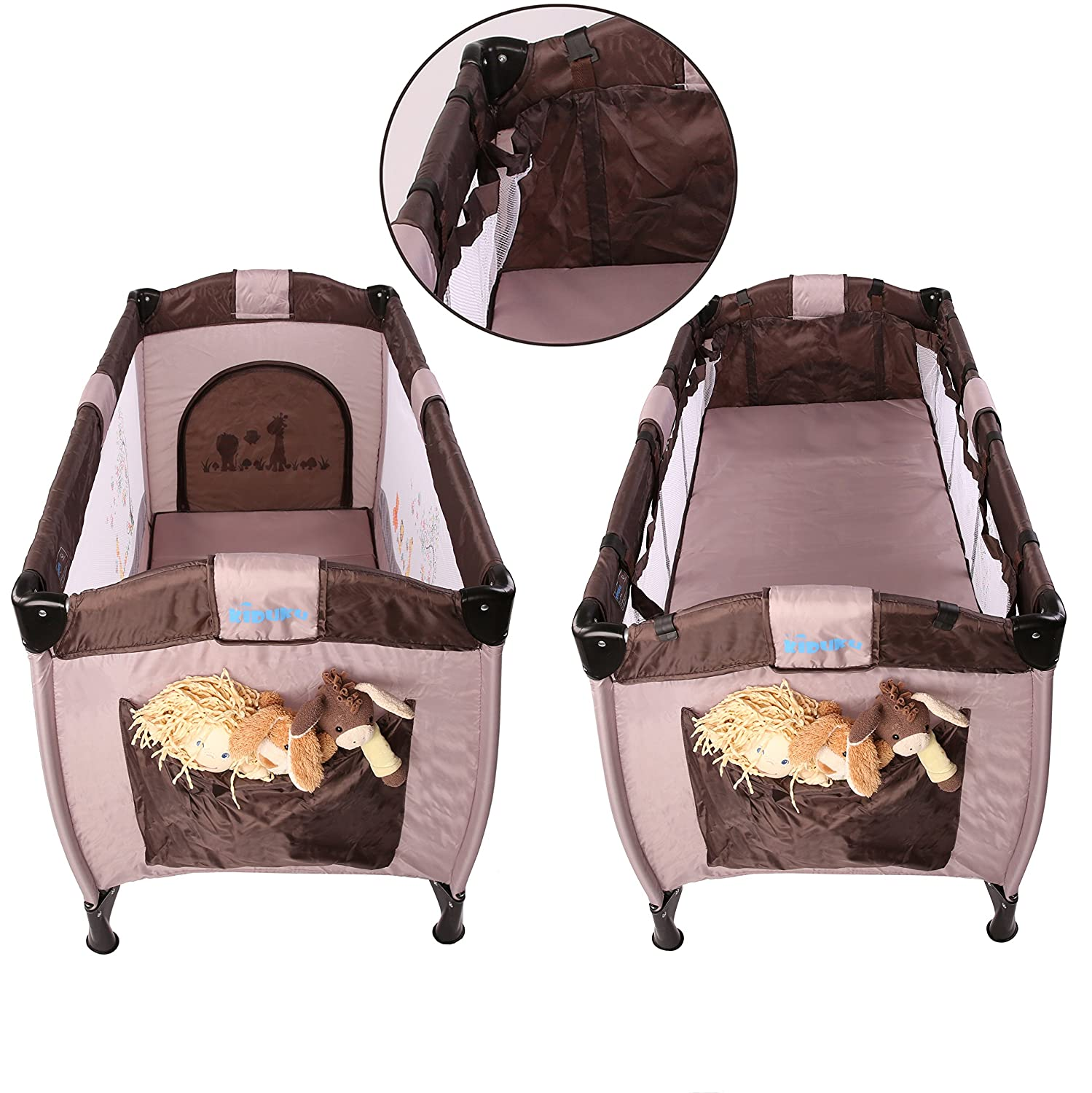 KIDUKU/® Baby bed travel cot crib portable child bed folding bed bedside cot playpen Brown height-adjustable 6 different colours second level for infants//babies