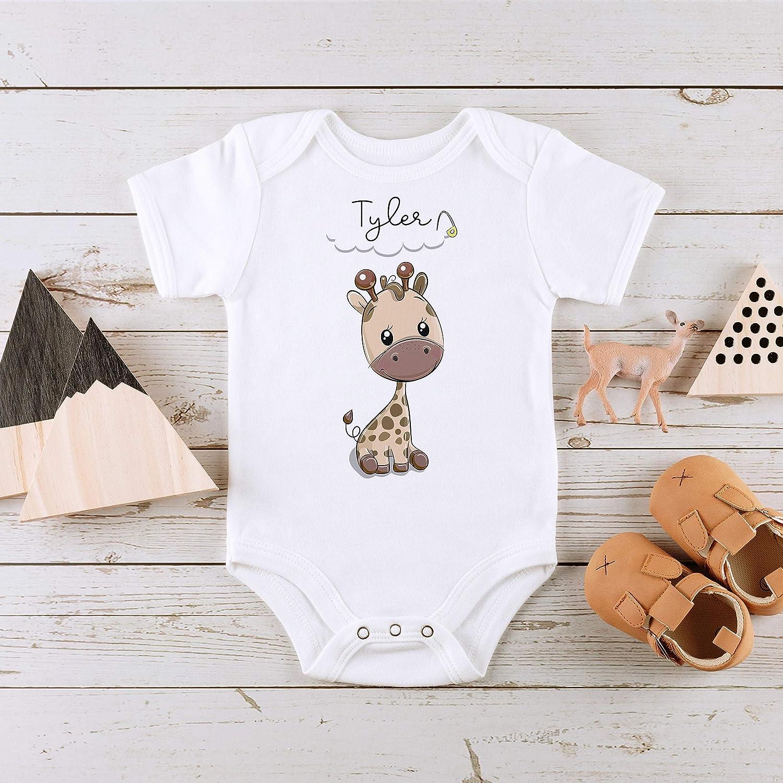 Personalised Baby Boy Vest Bodysuit Baby Onsie Fun Newborn Baby Gift Cute Giraffe Baby Grow