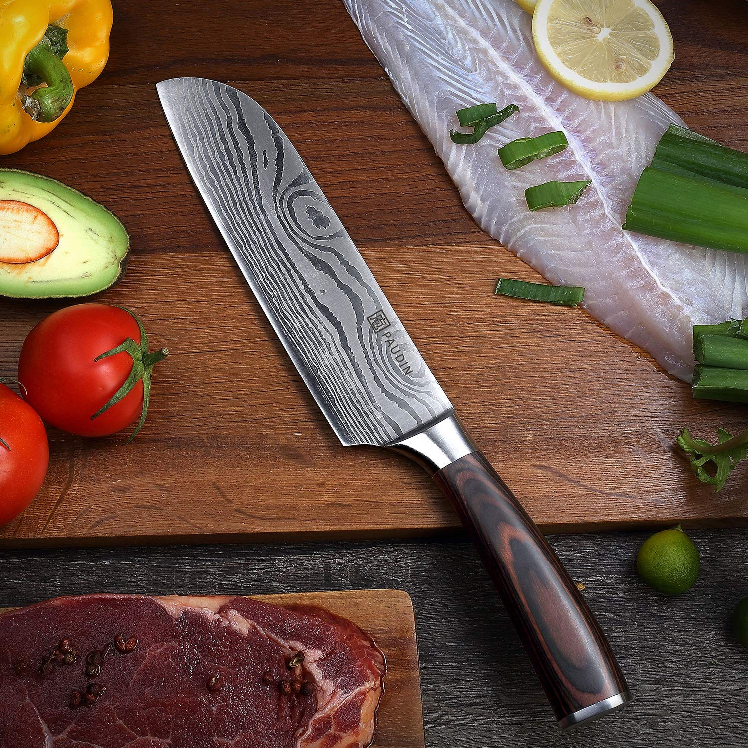 Santoku Knife - PAUDIN Classic 7 inch Hollow Ground Sharp Knife, German High Carbon Stainless Steel Kitchen Knife by PAUDIN (Image #2)
