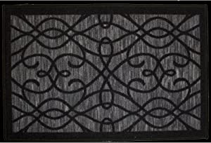 """Kashi Home Normandy Collection Contemporary Geometric Inspired Decorative Accent Egyptian Area Rug, 20"""" x 59"""", Black"""