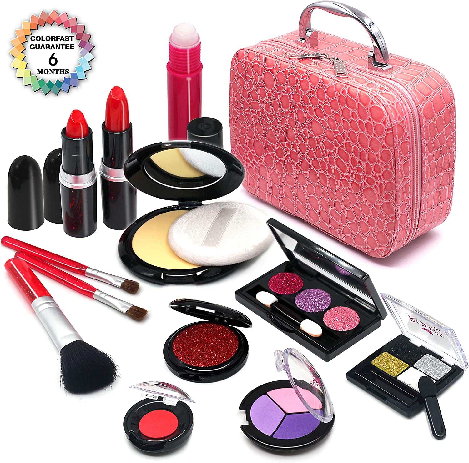 Senrokes Pretend Makeup Kit Cosmetic Toy Fake Play Rubber Makeup Set with Cosmetic Bag for Girls, Safe & Non-Toxic Toy Makeup Girl Birthday Gift for 4-10 Year Old Girls Fit Role-Play, Princess Dress