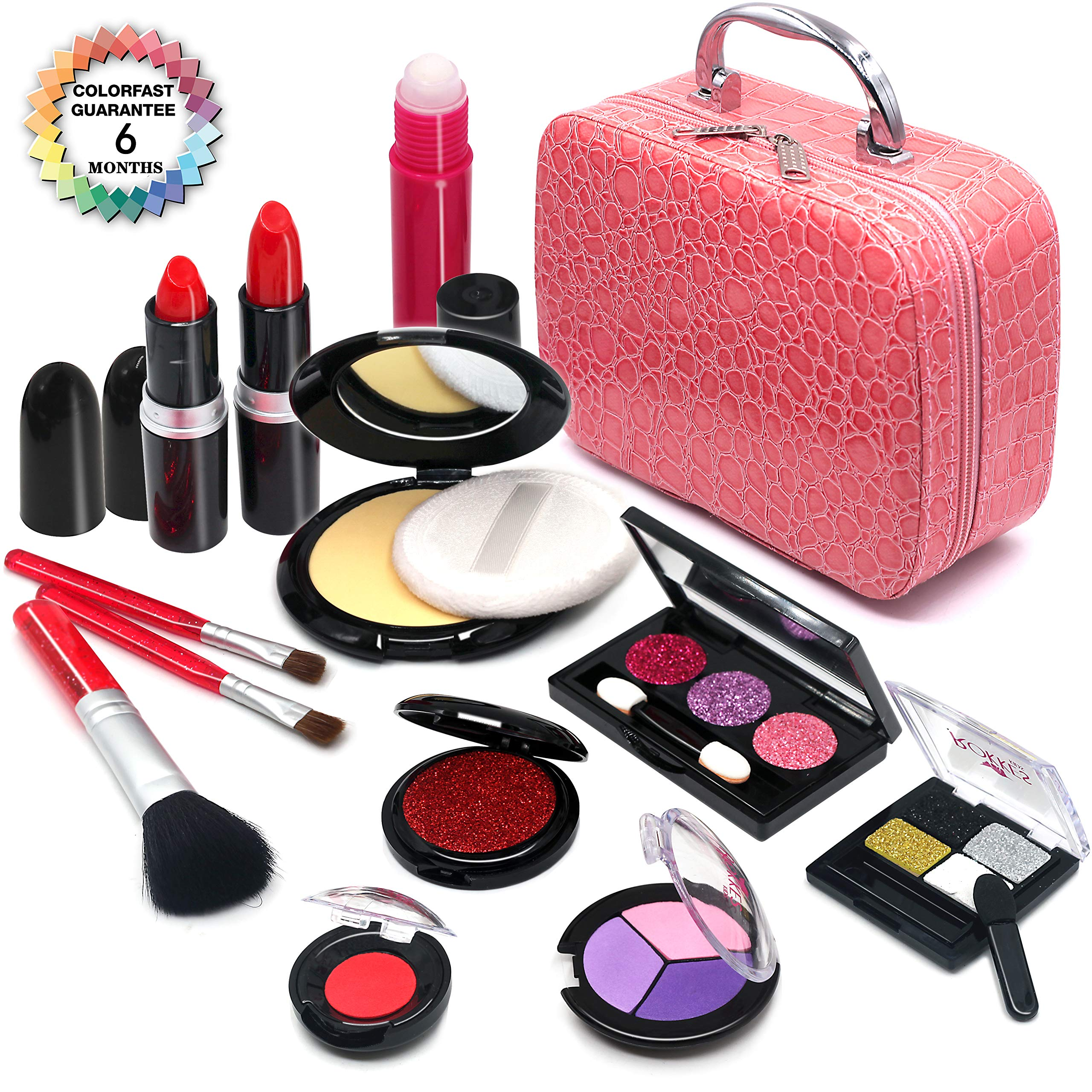 Senrokes Pretend Makeup Kit Cosmetic Toy Fake Play Rubber Makeup Set with Cosmetic Bag for Girls, Safe & Non-Toxic Toy Makeup Girl Birthday Gift for 4-10 Year Old Girls Fit Role-Play, Princess Dress by Senrokes