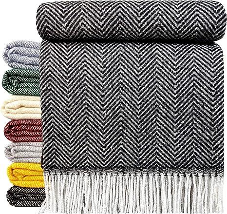 Baumwolldecke Wohndecke Wolldecke sehr weiches Plaid Decke 140x200 cm Hellgrau-V