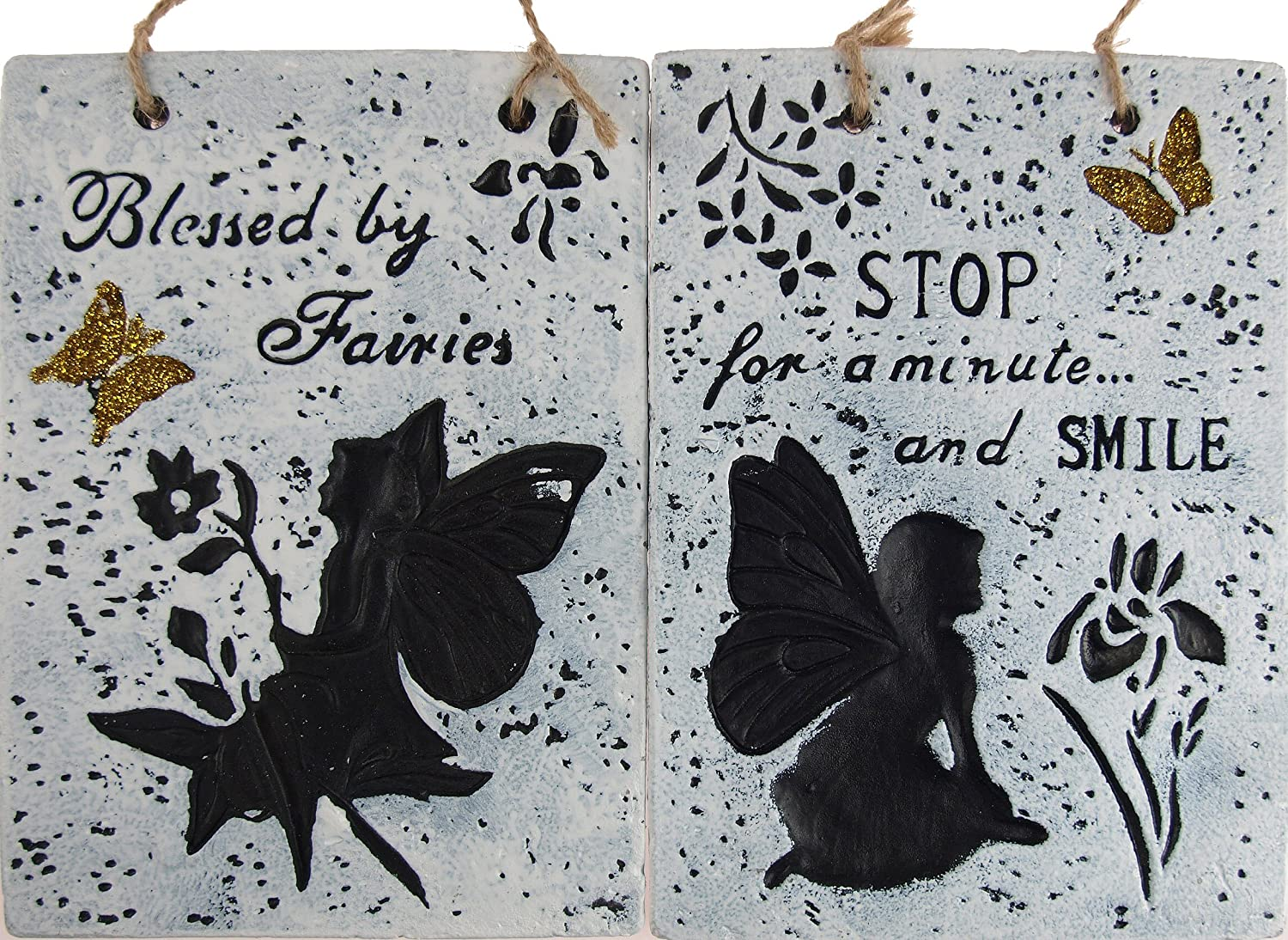 Set Of 2 Fairy Hanging Wall Plaques Garden Home