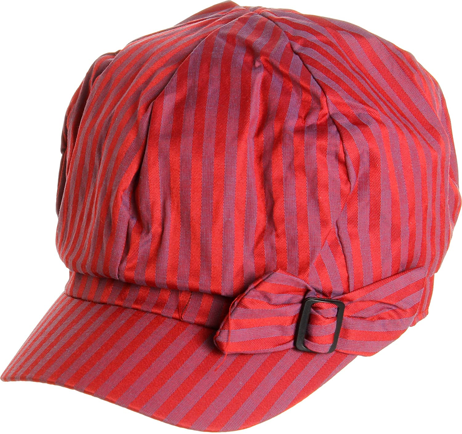 LL Women's Spring Summer Narrow Stripes Bow Cabbie Hats - Red