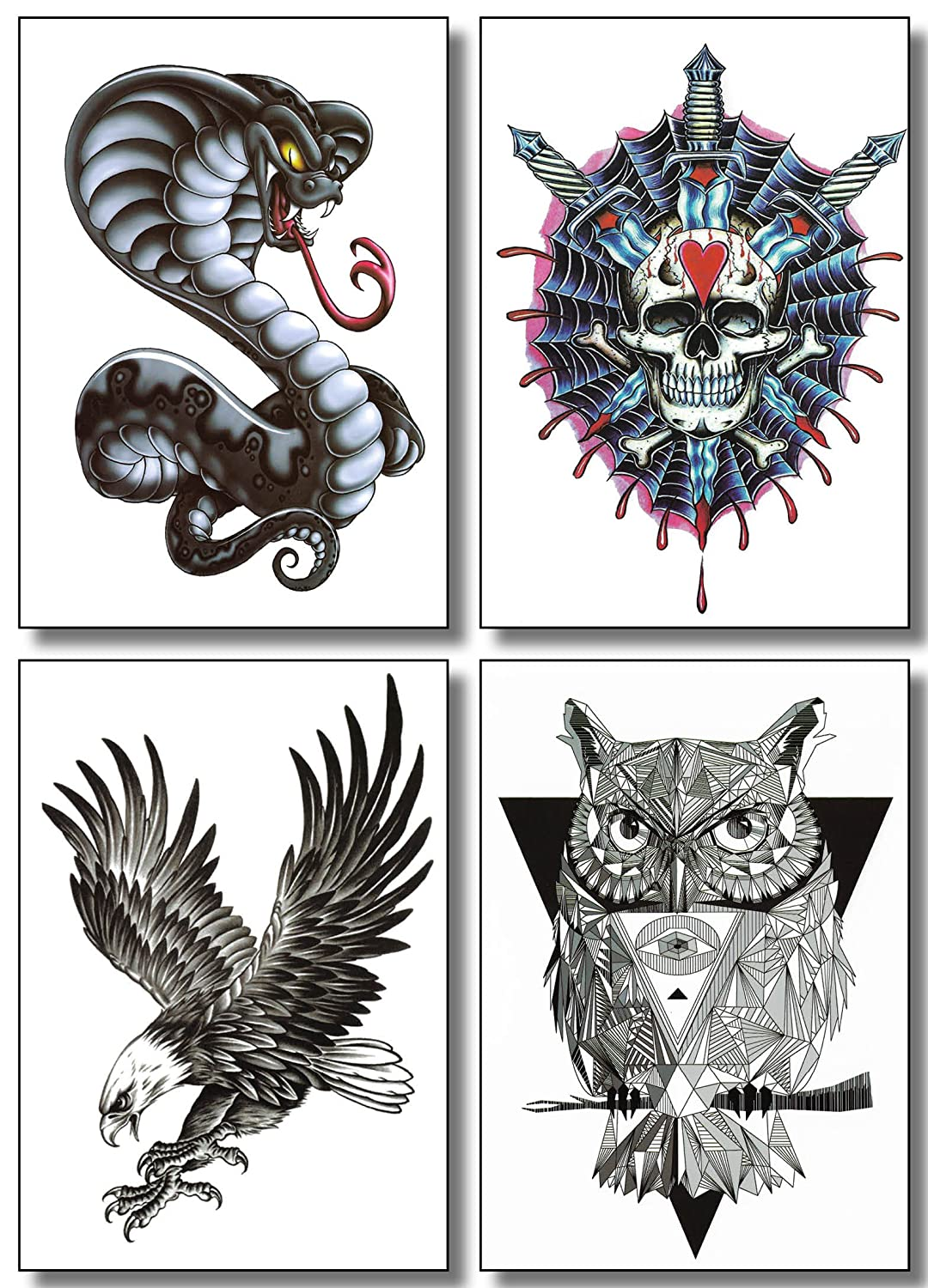 Amazon 8 sheets temporary tattoos for guys men boys teens amazon 8 sheets temporary tattoos for guys men boys teens fake large stickers for arms shoulders chest back legs eagle koi fish skull gun owl biocorpaavc