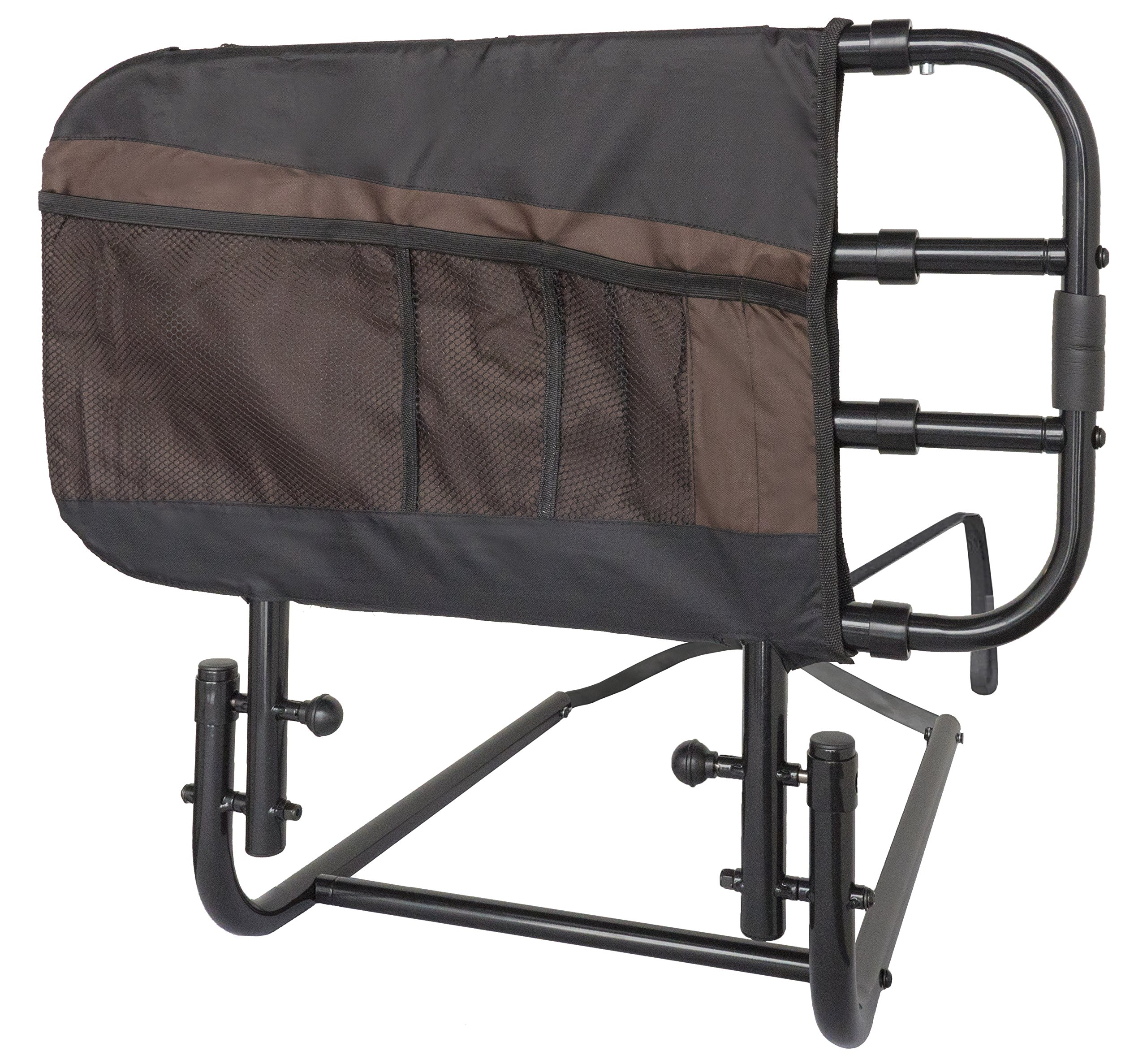 Stander EZ Adjust and Pivoting Adult Home Bed Rail/Swing Down Assist Handle with Pouch by Stander
