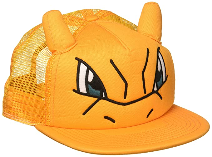 Bioworld Pokemon Charizard Big Face Trucker Snapback Hat with Ears Orange 200b8b02770