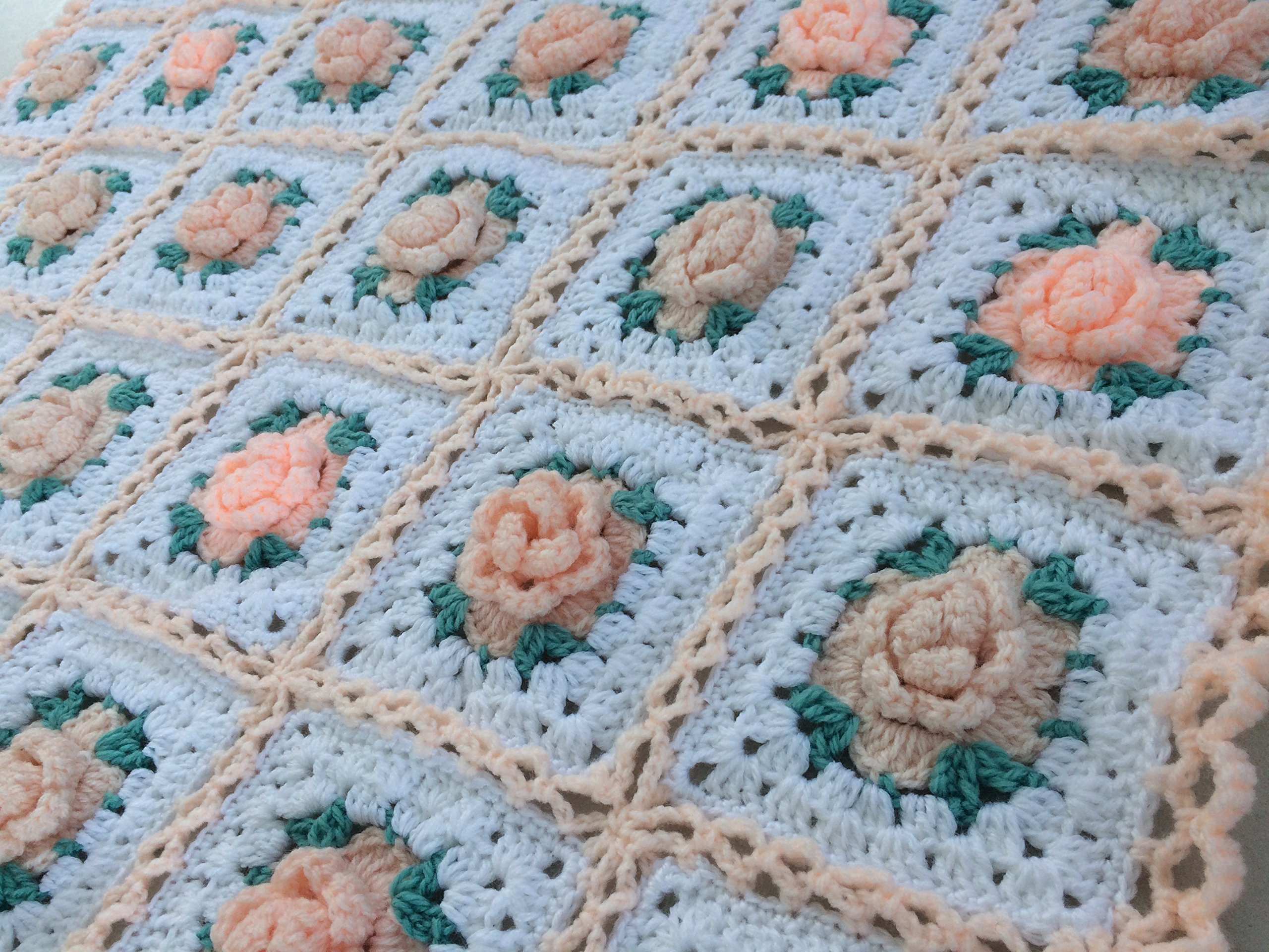 Baby Blanket. Crocheted Blanket. Baby Afghan. Shabby Chic Granny Square Baby Blanket with 3 Dimensional Roses.